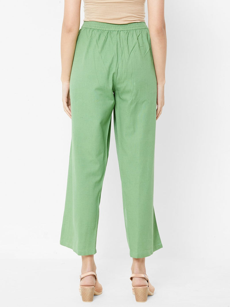 Nature inspired Embroidered Pants Green