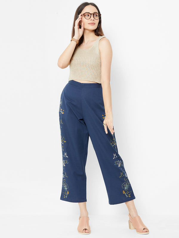 Nature inspired Embroidered Pants Navy Blue