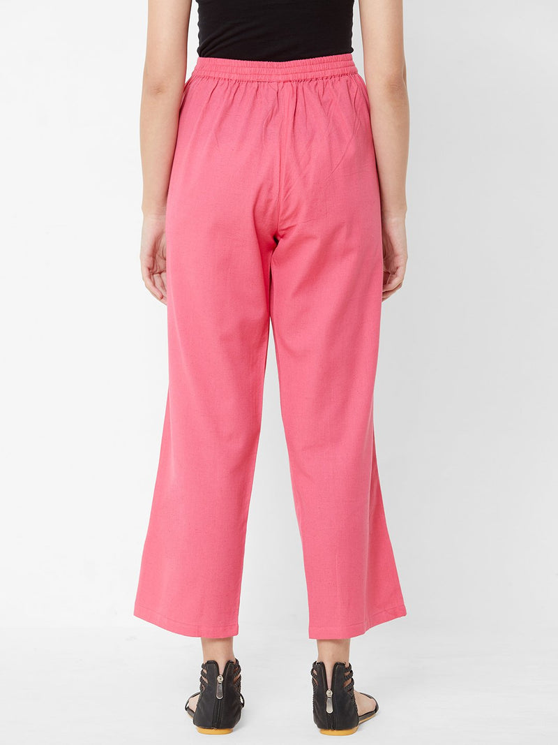 Nature inspired Embroidered Pants Pink