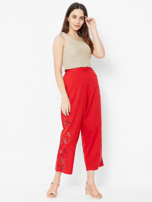 Nature inspired Embroidered Pants Red