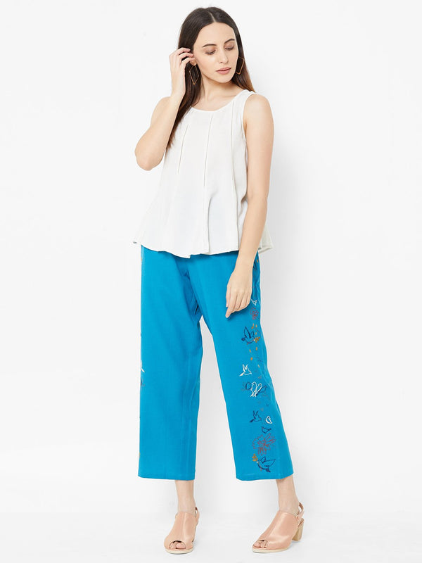 Nature inspired Embroidered Pants Sky Blue