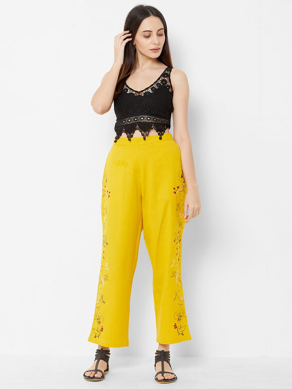 Nature inspired Embroidered Pants Yellow