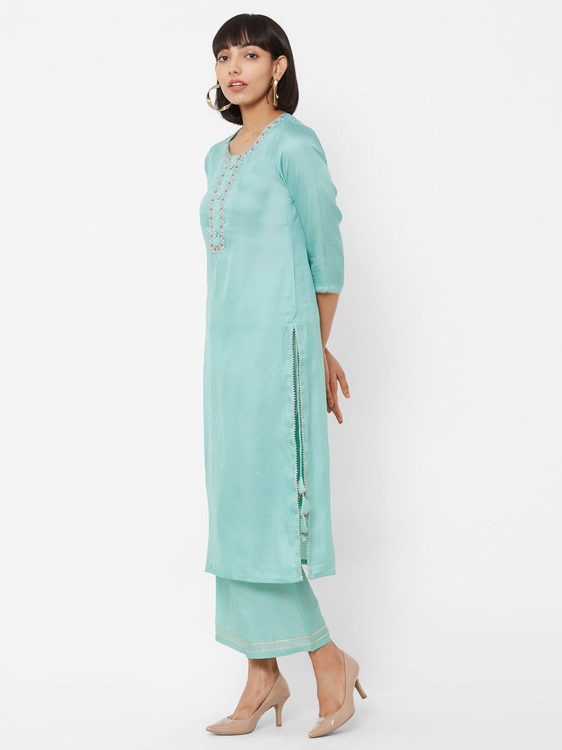 ZOLA Sky Blue Textured Straight Kurti paired with Palazzo pants
