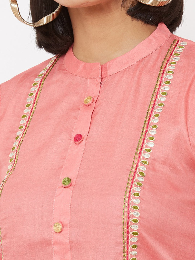 ZOLA Pink Embroidered Straight Kurta paired with Palazzos