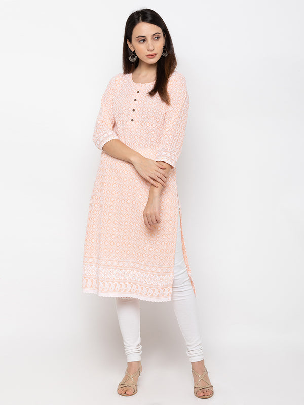 Peach Cambric Cotton Round Neck Lucknowi Chikan Kurti