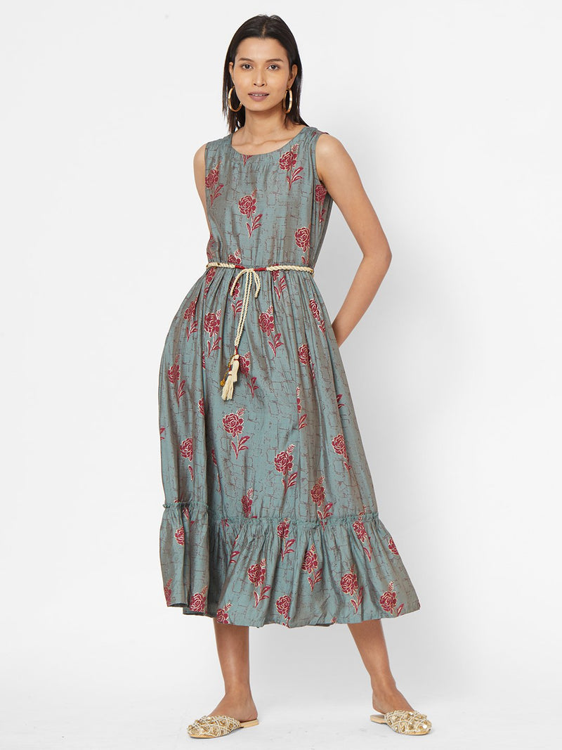 ZOLA Grey Floral Printed Dress With Fabric Belt for Women