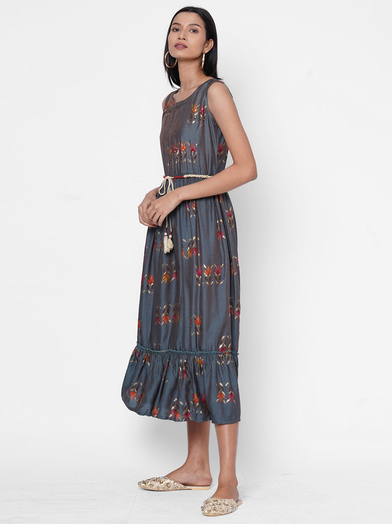 ZOLA Floral Printed Fit and Flare Dress With Fabric Belt for Women