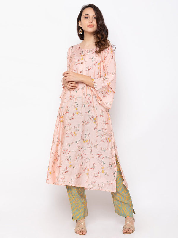 ZOLA Peach Printed Cotton Kurti with Palazzo