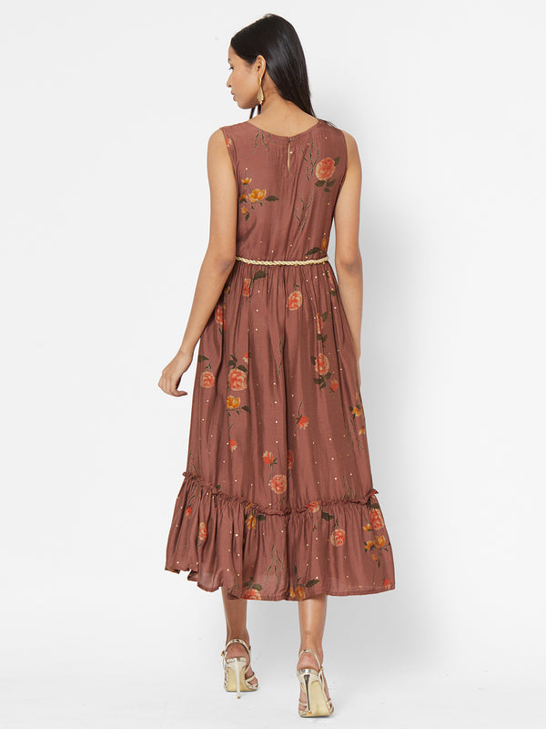 ZOLA Brown Floral Printed Fit and Flare Dress With Tie Up Belt for Women