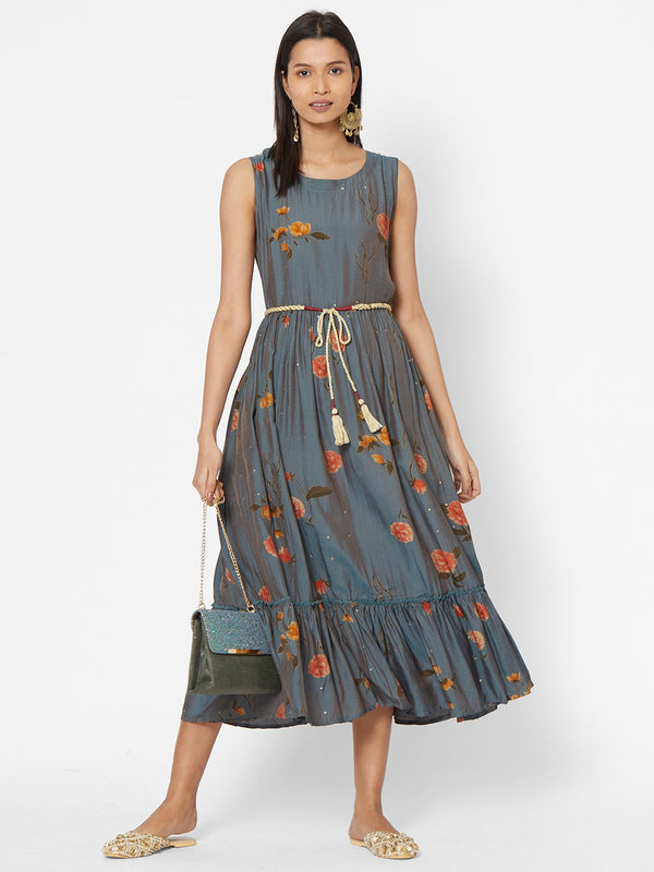 ZOLA Grey Floral Printed Fit and Flare Dress With Tie Up Belt for Women