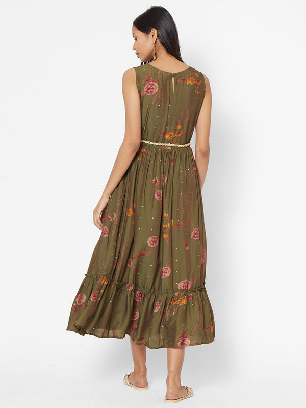 ZOLA Olive Green Floral Printed Fit and Flare Dress With Tie Up Belt for Women