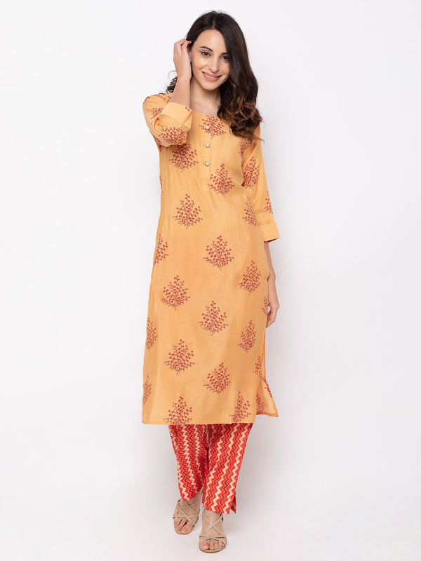 ZOLA Attractive Orange Cotton Round Neck Kurta + Palazzo Set