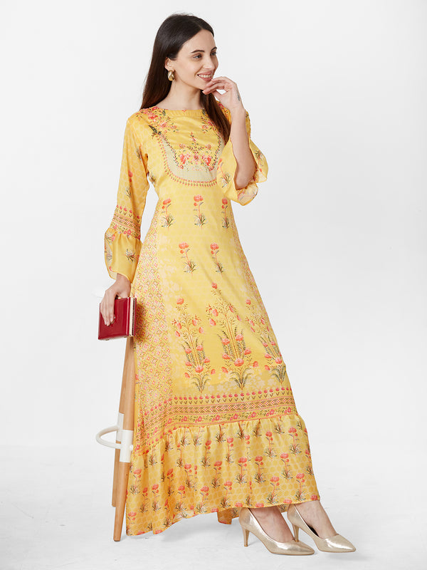 Yellow Floral dress with Embroidery detail