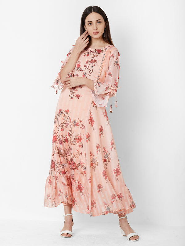 Peach Floral Dress with Embroidery detail
