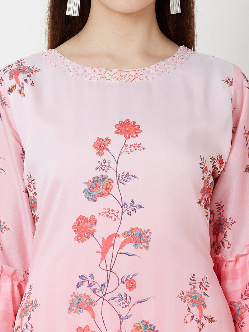 Pink Floral Dress with Embroidery detail
