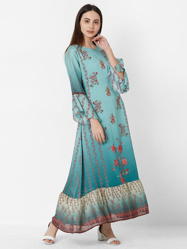 Sea Green Floral Dress with Embroidery detail
