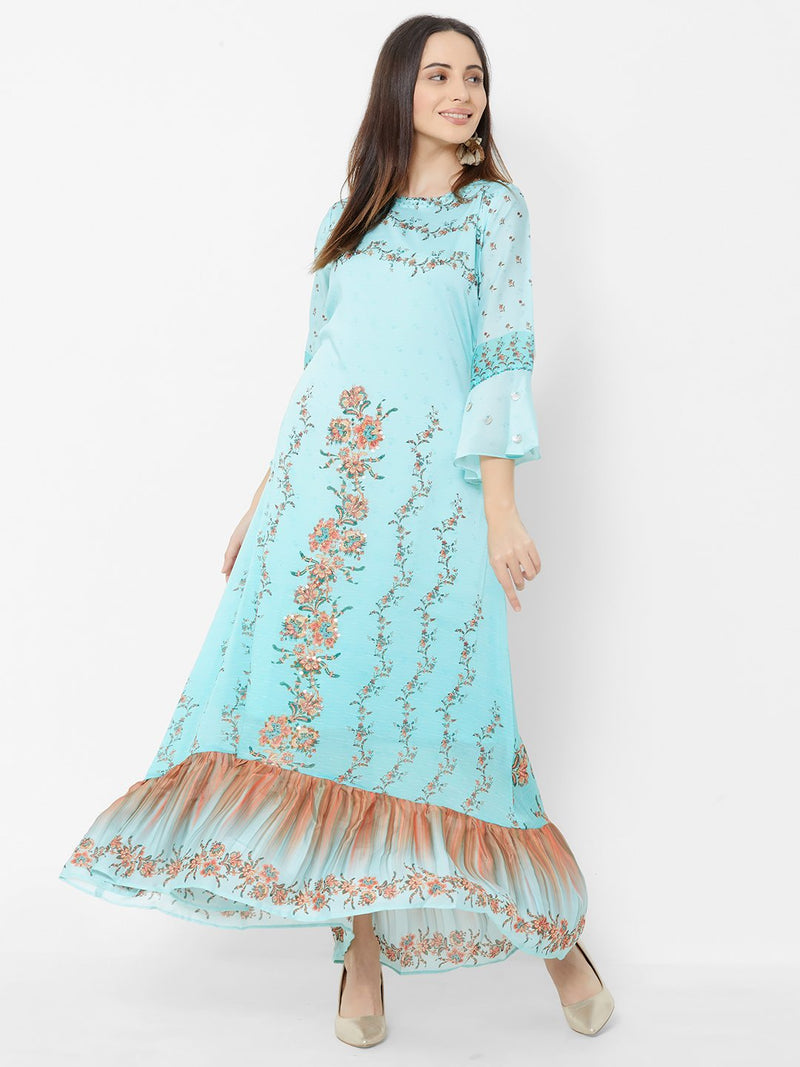 Shaded Sky Blue Floral Dress with Embroidery Details
