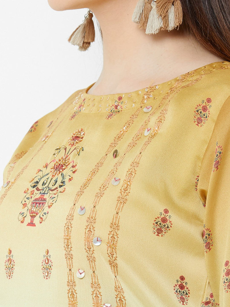 Shaded Blue-Gold Floral Dress with Embroidery Details