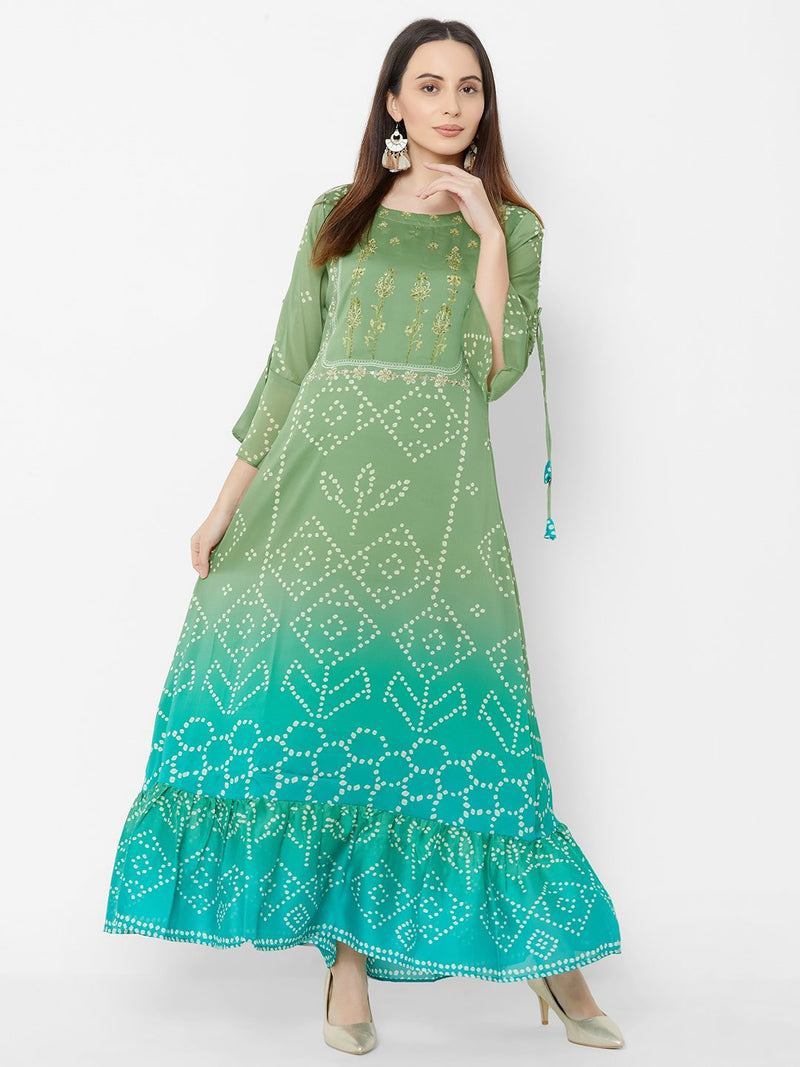 Shaded Green-Olive Bandhej Dress with Embroidery Details
