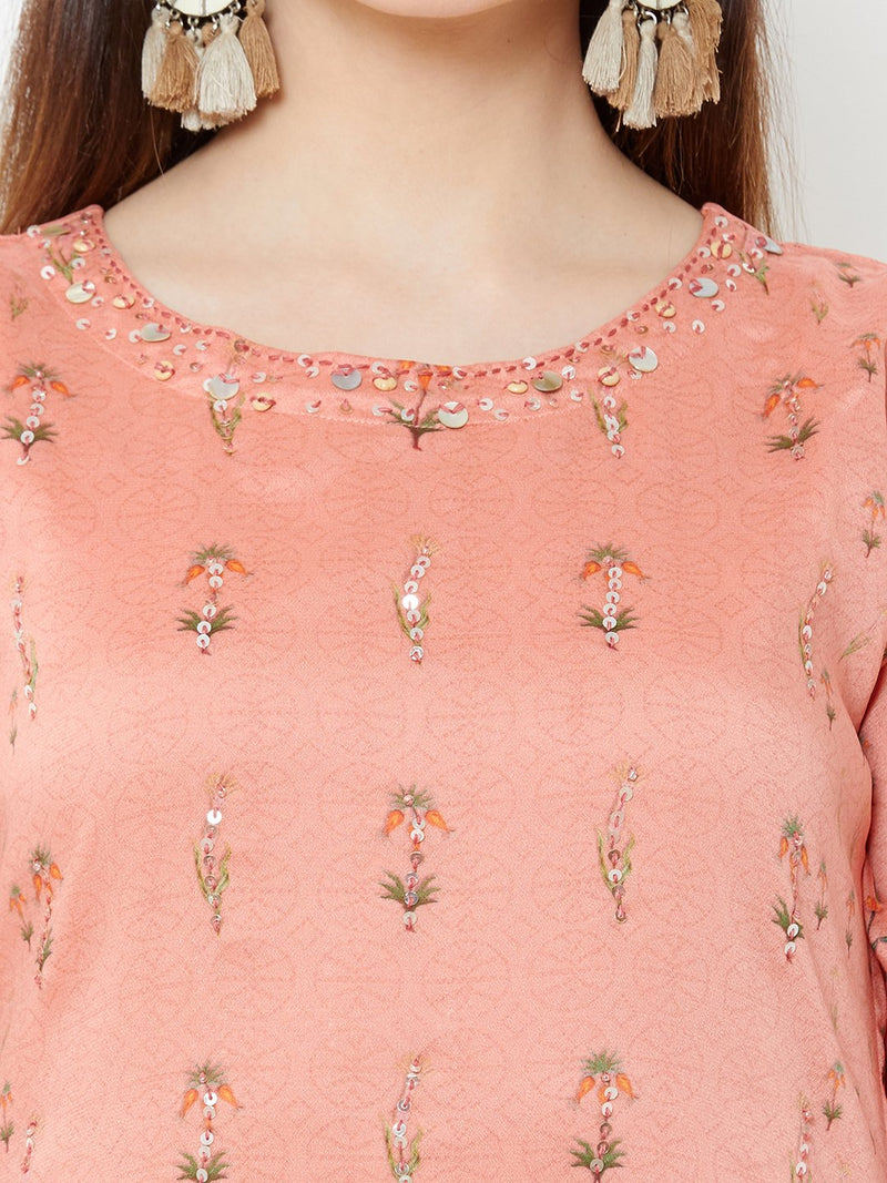 Shaded Peach Floral Dress with Embroidery Details