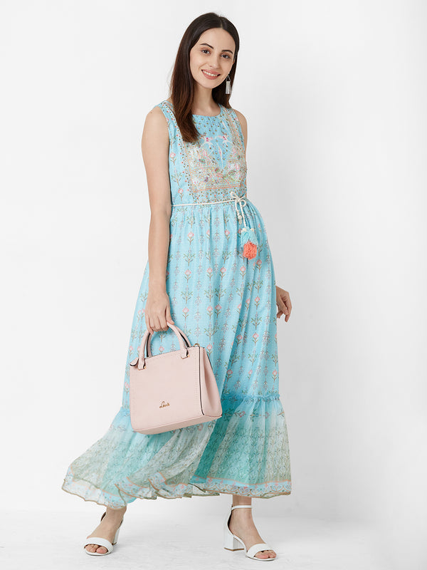 Sky Blue Floral Dress with Embroidery detail