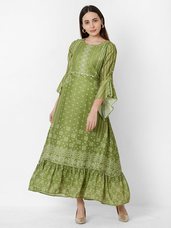 Olive Bandhej Dress with Embroidery detail