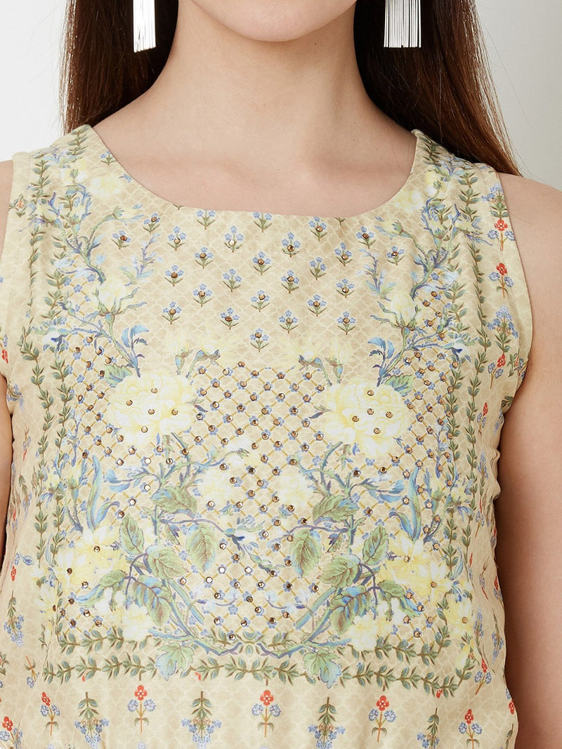Lemon Floral Dress with Embroidery detail