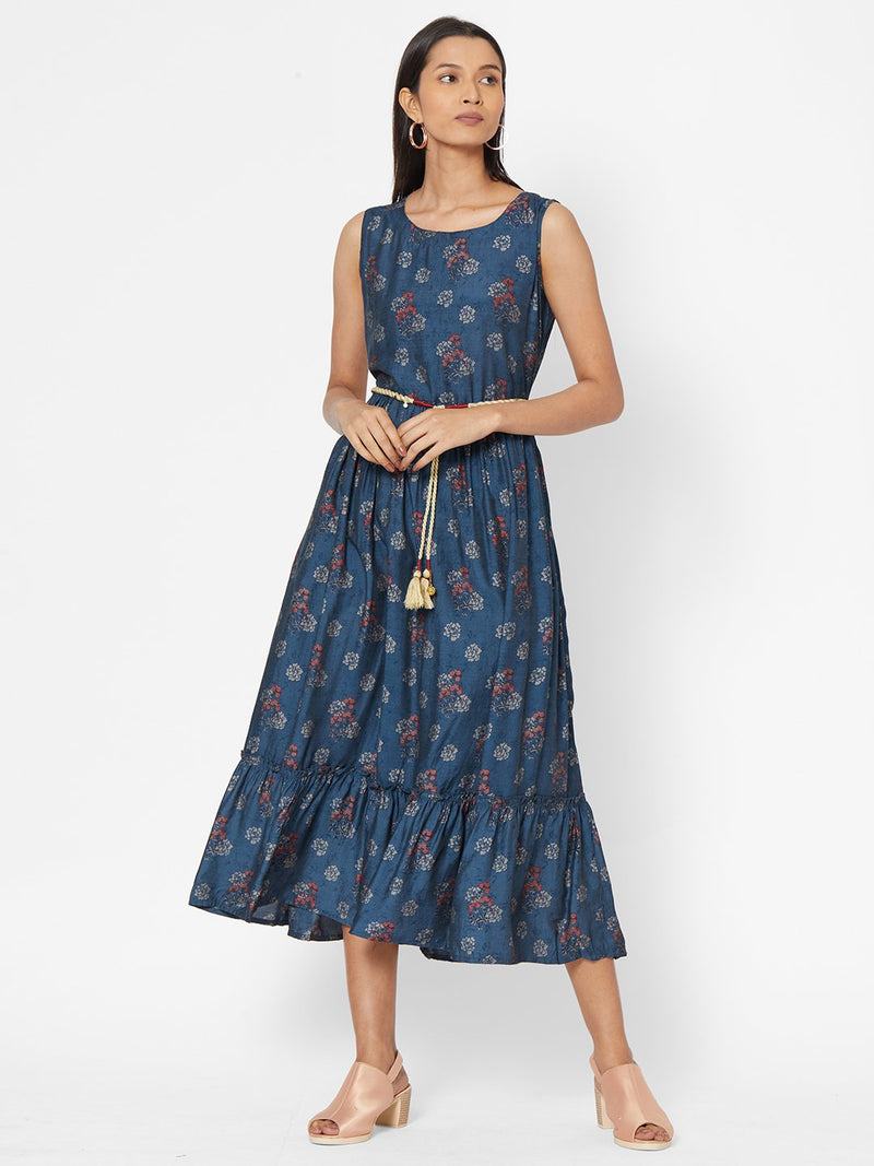 ZOLA Blue Floral Printed Flared Dress With Belt for Women