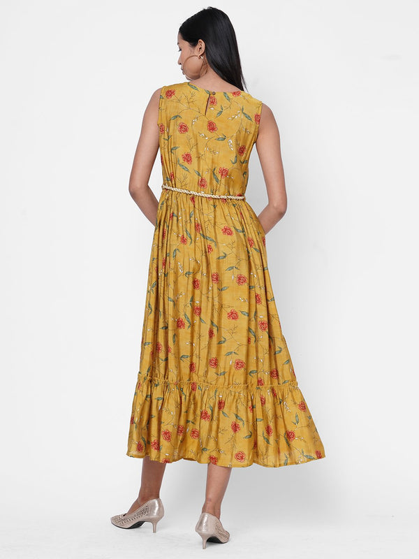 ZOLA Musturd Floral Printed Flared Dress With Waist Belt for Women