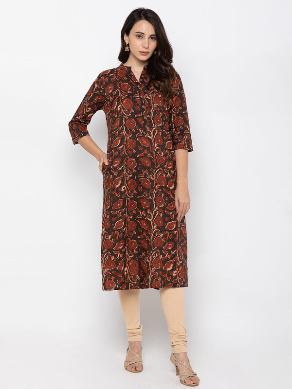 ZOLA Brown Cotton Abstract Printed Kurti with Pocket