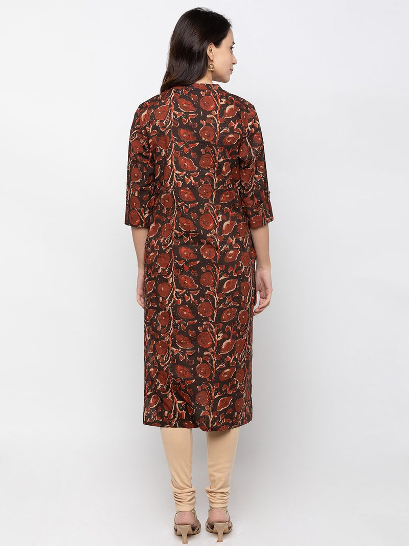 Stylish Brown Cotton Chinese Collar Printed Kurti