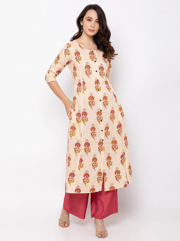 Magical Beige Cotton Round Neck Floral Print Kurti