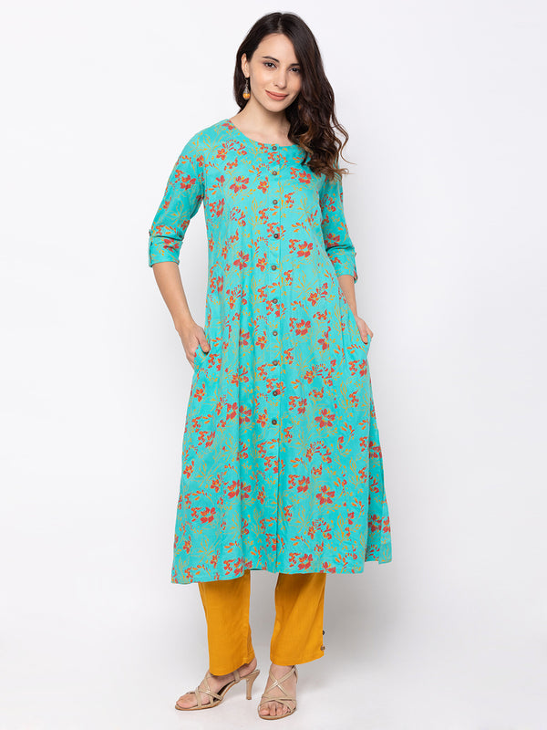 Sea Green Cotton Round Neck Floral Print Kurti
