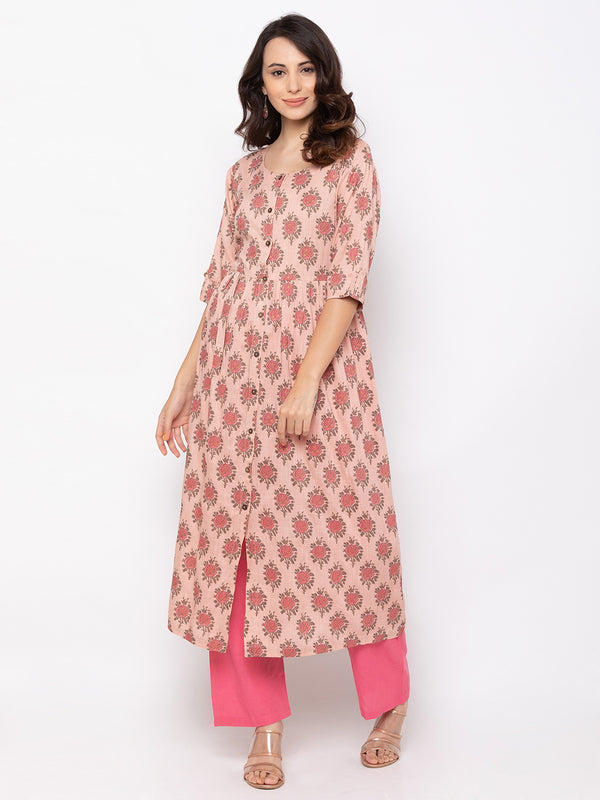 Attractive Baby Pink Cotton Round Neck Floral Print Kurti