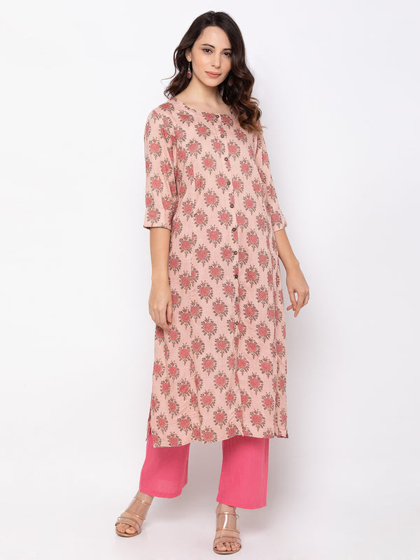 Magnificent Baby Pink Cotton Round Neck Floral Print Kurti