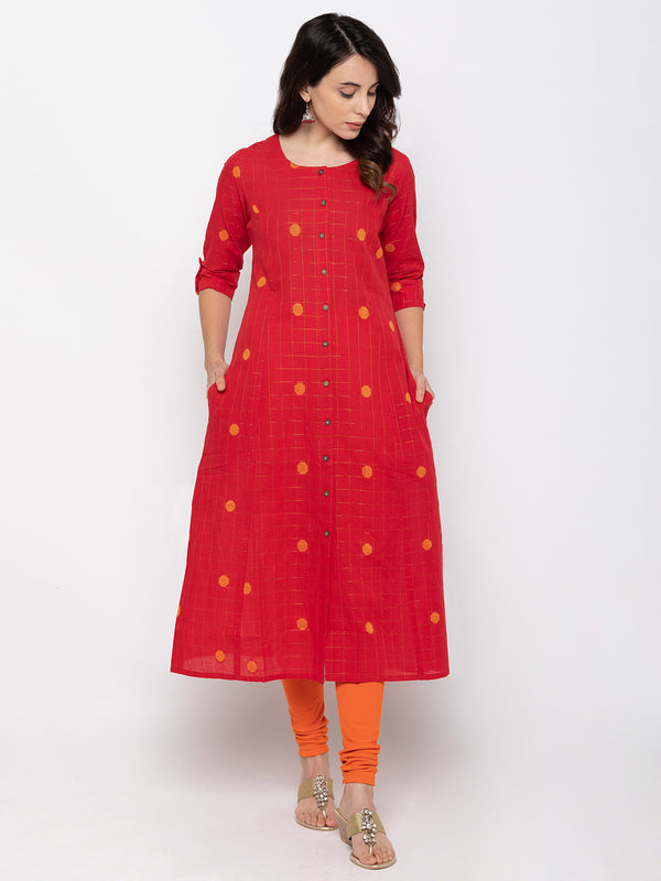 ZOLA Bold Red Cambric Cotton Round Neck Printed Kurti