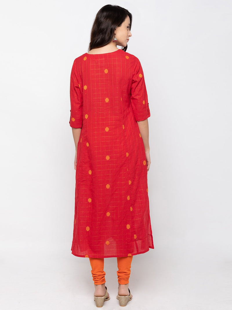 Bold Red Cambric Cotton Round Neck Printed Kurti