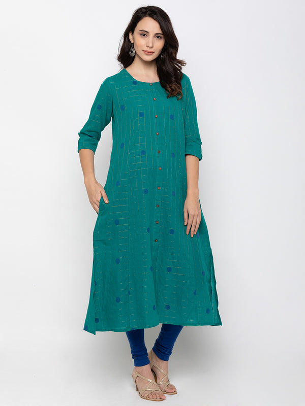 Attention- Catching Teal Cambric Cotton Round Neck Printed Kurti