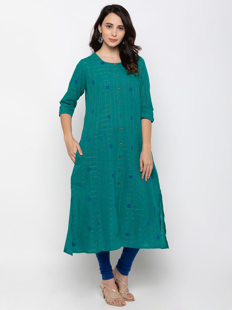 Attention Catching Teal Cambric Cotton Round Neck Printed Kurti