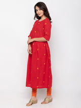 Elegant Red Cambric Cotton Round Neck Printed Kurti