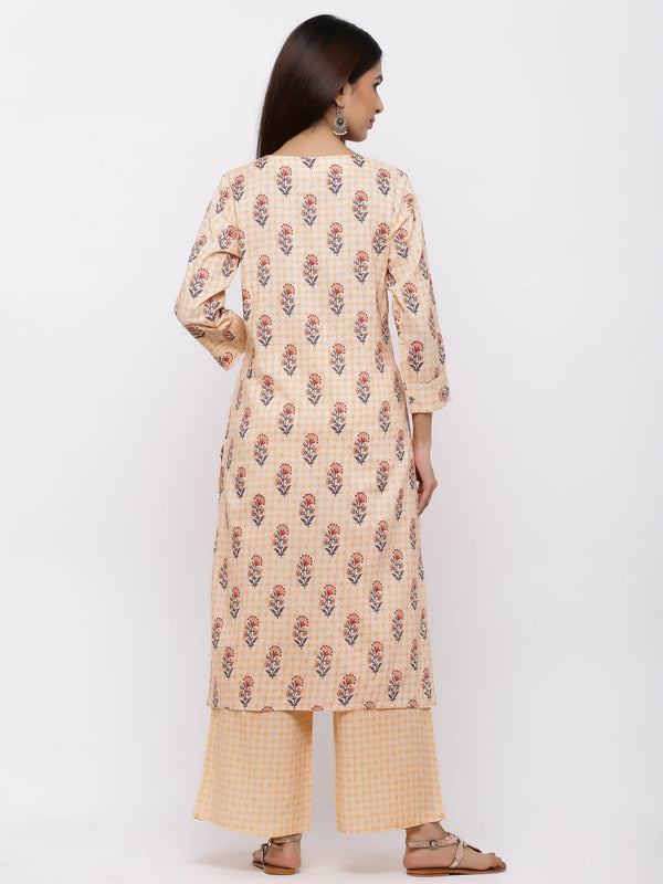 ZOLA Delightful Peach Cotton Chinese Collar Palazzo Set