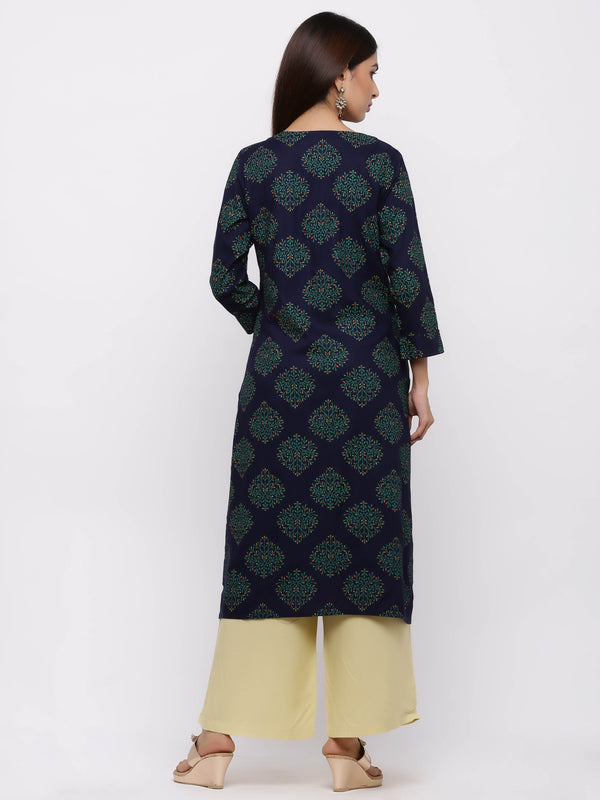 Navy-Blue Printed Cotton Kurti with Palazzo