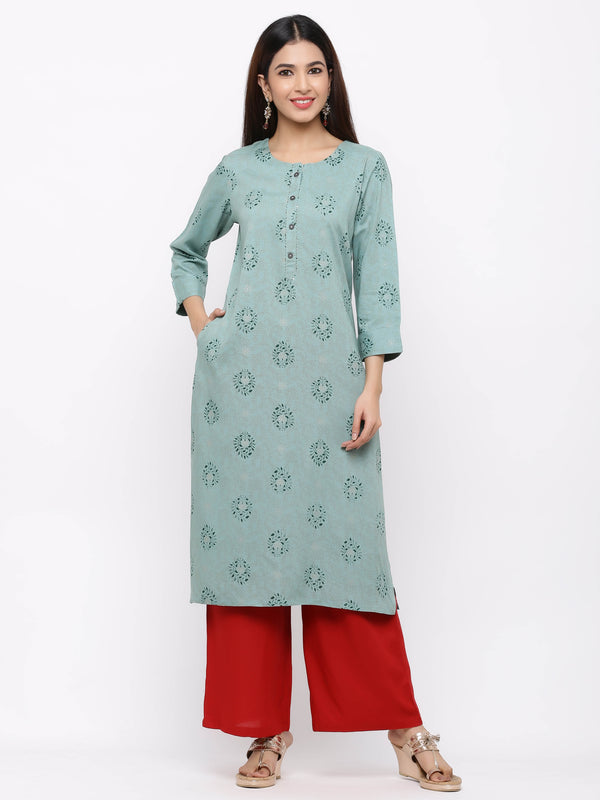 Sky-Blue Printed Cotton Kurti with Palazzo
