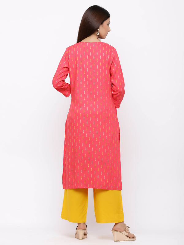 Red Foil Printed Cotton Kurti with Yellow Palazzo