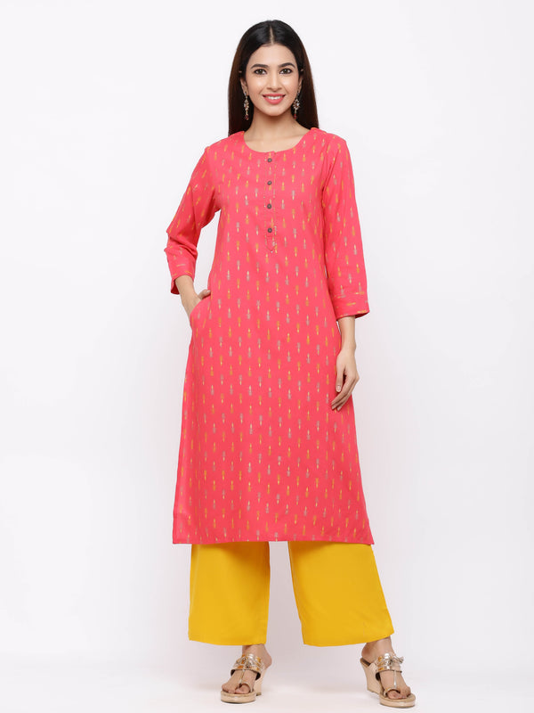 ZOLA Pink Printed Cotton Kurti paired with Palazzo pants