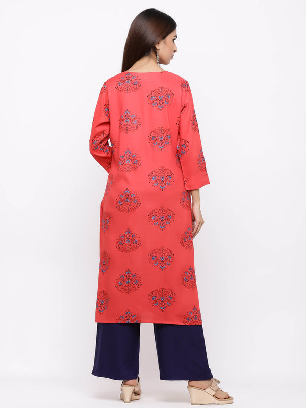 Red Block Printed Cotton Kurti with Plazo