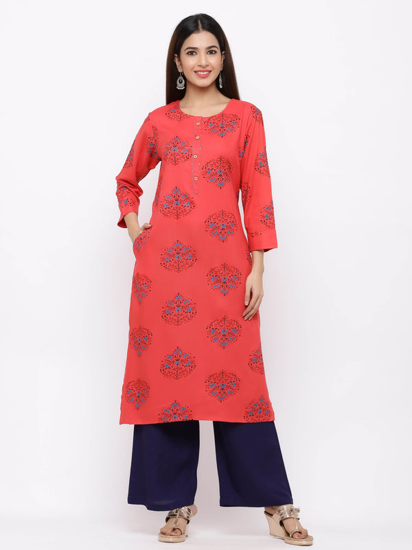 ZOLA Red Printed Cotton Kurti with Palazzo