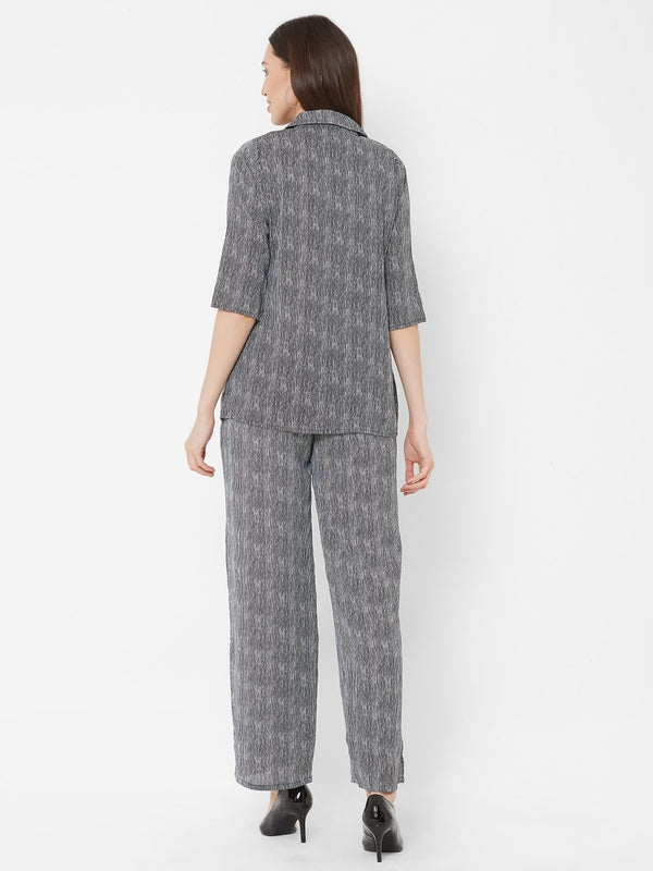 ZOLA Grey Striped Pant Suit with White T-Shirt