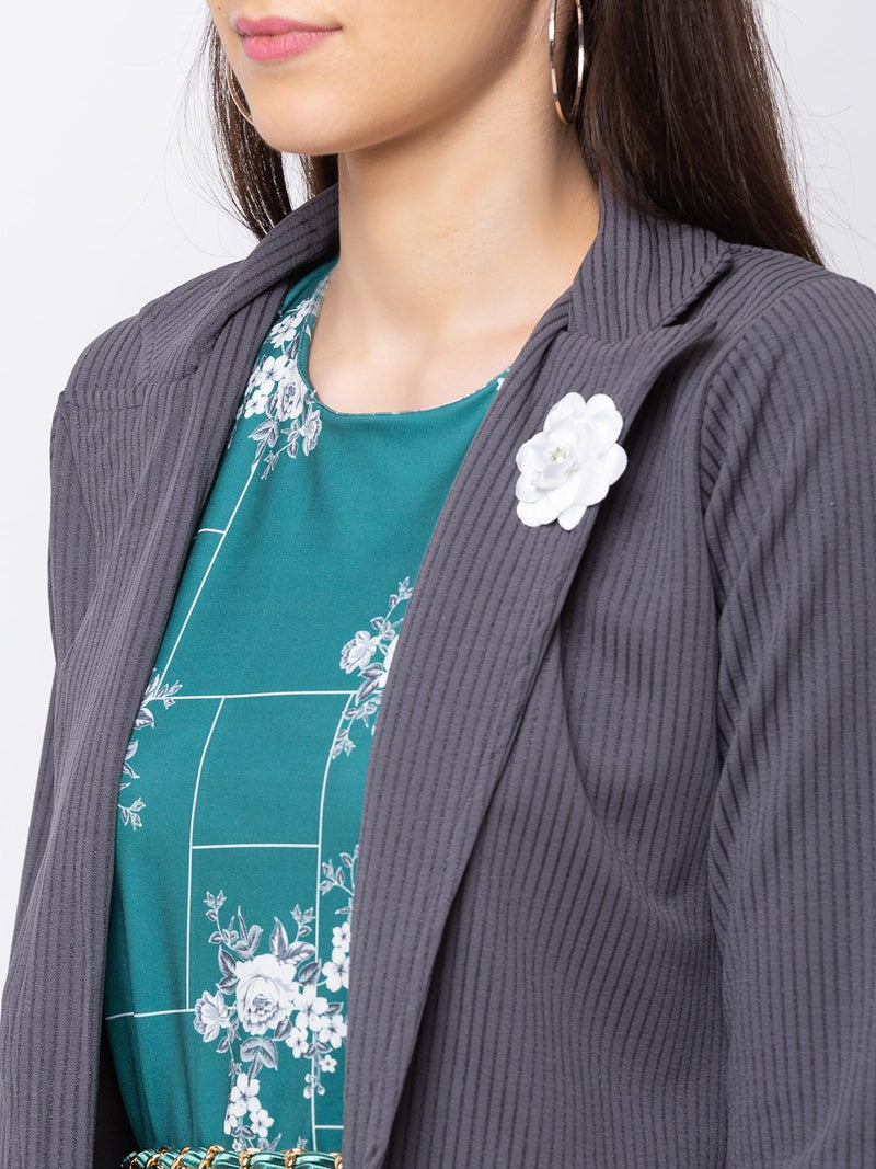 ZOLA Teal Floral Printed Dress + Blazer Jacket