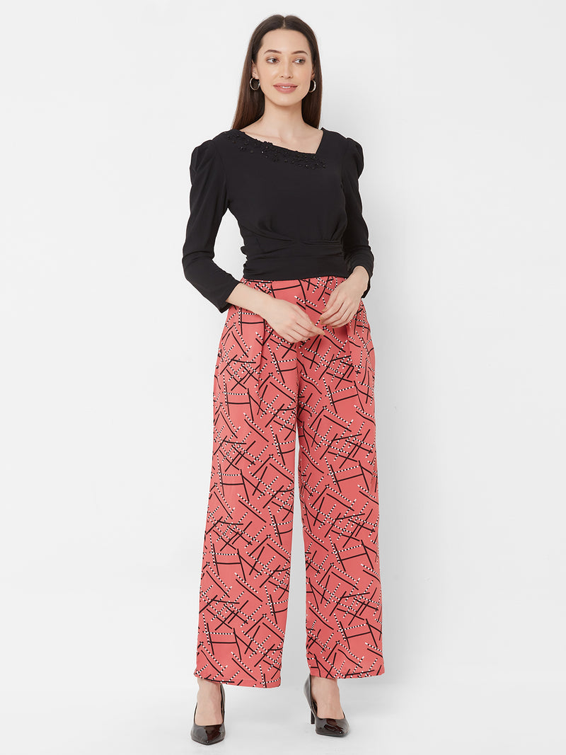 ZOLA Black Asymmetric Top with Printed Pants + Pockets